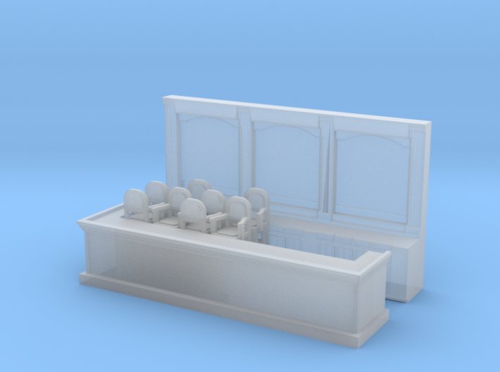 Bar & 8 Stools - N 160:1 Scale 3d printed