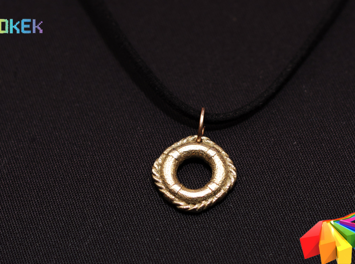 Lifebuoy pendant 15mm 3d printed Photo with the charm printed in Stainless Steel