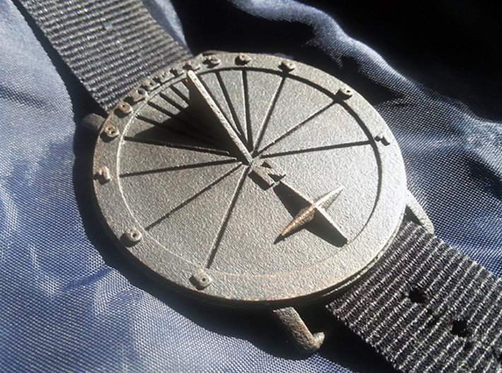35N Sundial Wristwatch With Compass Rose 3d printed The 42.36N Model Printed In Steel