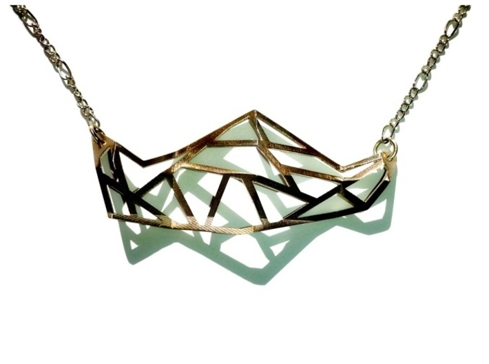 FabGeo Necklace 3d printed Polished Silver