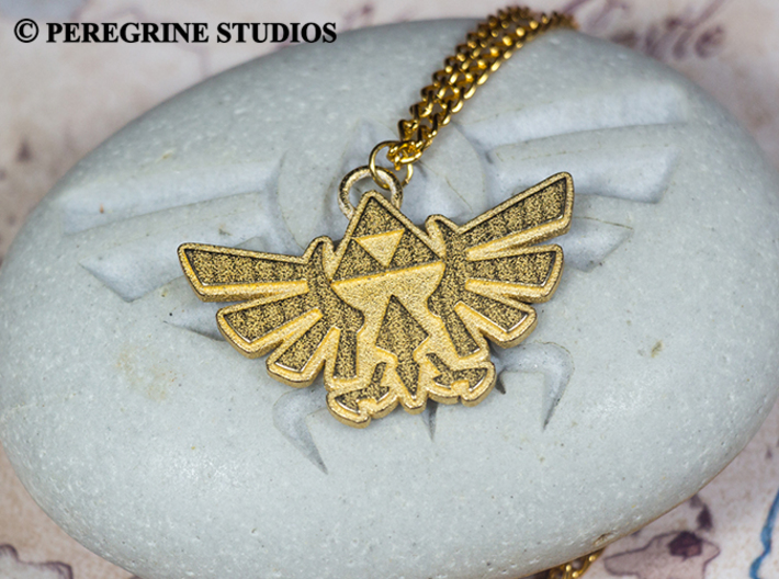 Pendant - Hylian Crest (Base) 3d printed Polished Gold Steel