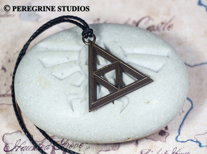Pendant - TriForce (No Bumps) 3d printed Polished Bronze Steel