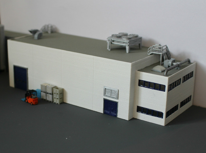 N Scale Industrial Building With Office 3d printed Building painted and detailed. All details available via Shapeways.