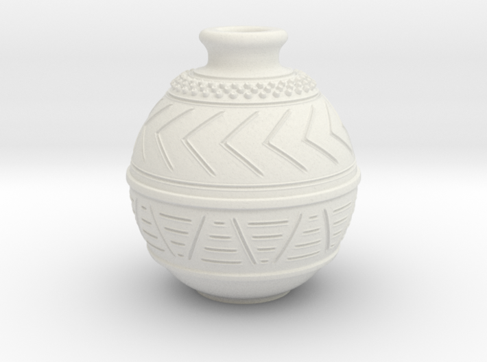 (1/4 scale) African pot themed bottle 3d printed