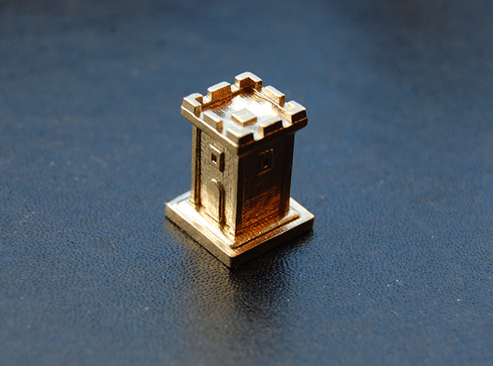 Tiny Tower 3d printed Raw Brass