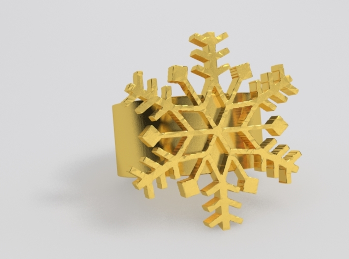 Snowflake Ring Size 7 3d printed Brass Sample render. <br> NOTE: Flake is a little thicker and band is thinner now