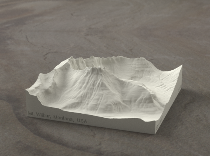 4'' Mt. Wilbur, Montana, USA, Sandstone 3d printed Radiance rendering of model, viewed from the South.