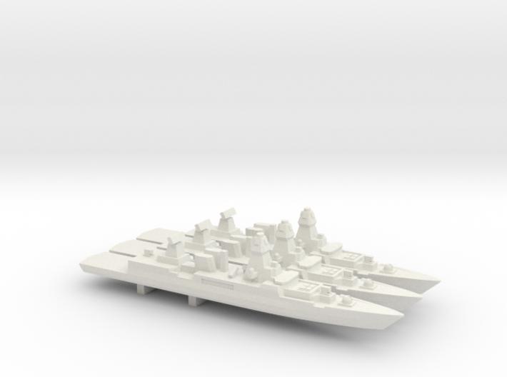 Sachsen-class frigate x 3, 1/1800 3d printed