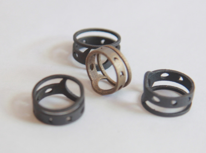 """""""Phases of Lunacy"""" Moon Phase Midi Ring 3d printed Matte Black Steel and Stainless Steel"""