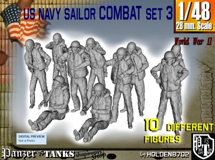 1-48 US Navy Sailors Combat SET 3 3d printed