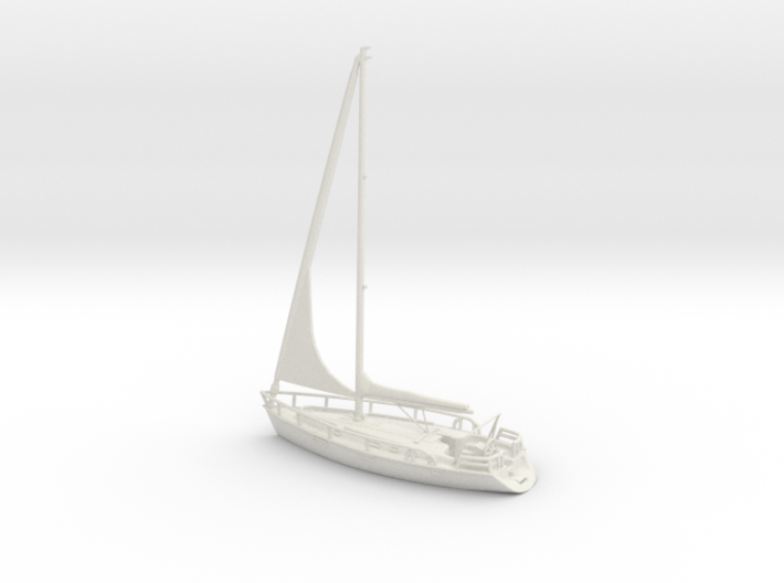 SailBoat 02_reefed sails. HO Scale 1:87 3d printed