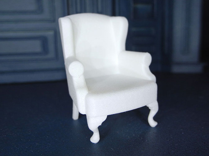 1:24 Queen Anne Wingback Chair 3d printed Printed in White, Strong & Flexible