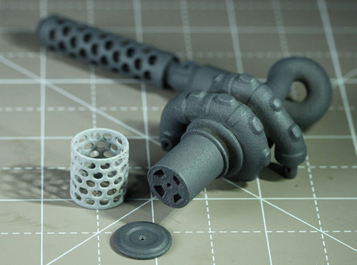 Sand Scorcher Twin Turbo Exhausts (pair) 3d printed Turbo Exhausts, with Air-filter Meshes and Air-filter Cap (other parts sold separately)