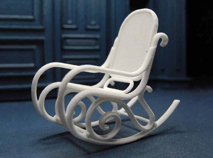 1:24 Bentwood Rocking Chair 3d Printed Printed In White Strong U0026amp;  Flexible