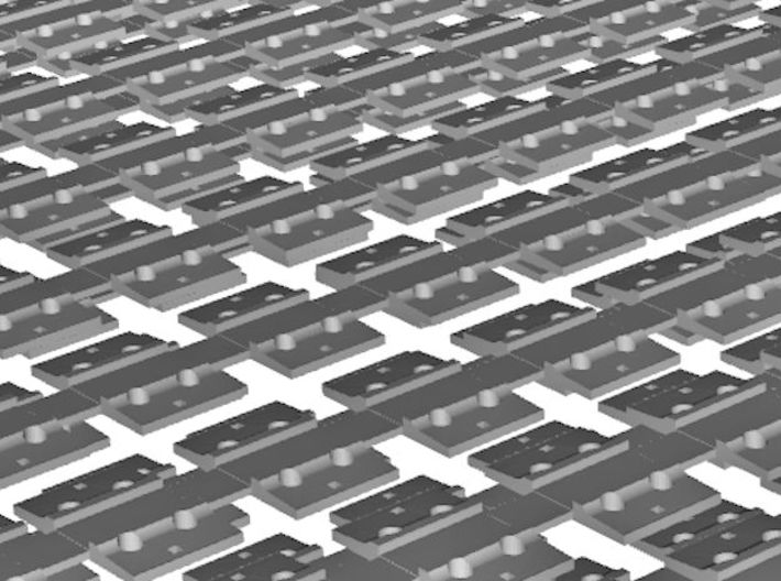 7mm Sleeper Plates C100 Rail X 500 3d printed Close up of 3D render - Two layers shown