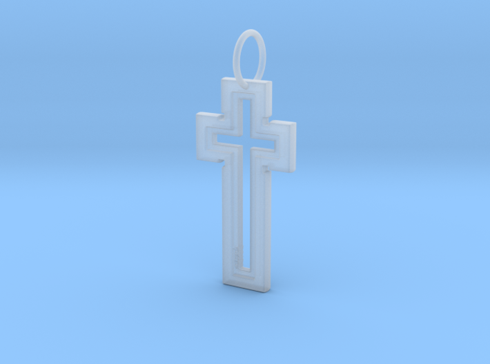 Hollow Cross Keychain 3d printed