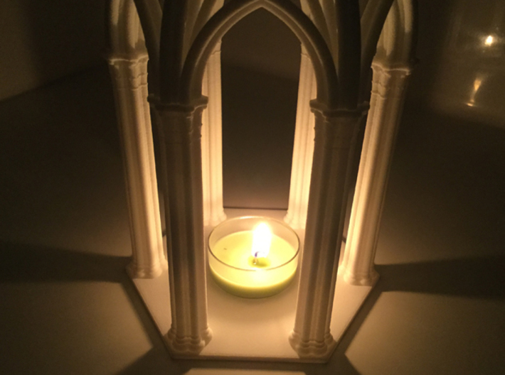 Gothic Chapel 1 Base 3d printed View of Chapel from side lit up DO NOT USE A REAL CANDLE