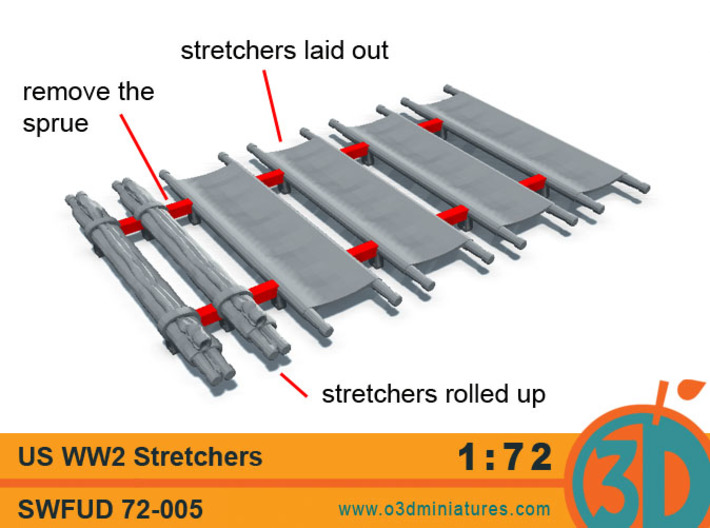 US WW2 Stretchers 1/72 scale SWFUD-72-005 3d printed
