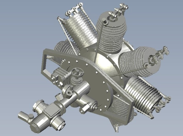 1/18 scale Gnome 7 Omega rotary engine 3d printed