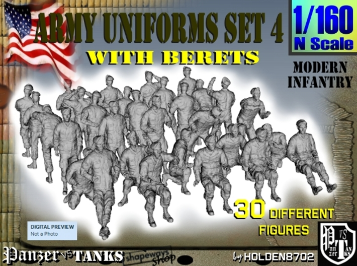 1-160 Army Modern Uniforms Set4 3d printed