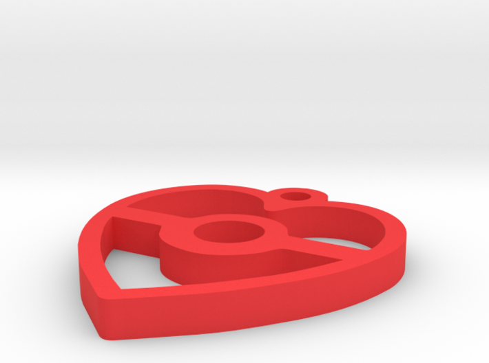 Pokeball Heart Pendant 3d printed