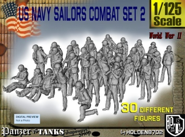 1/125 US Navy Sailors Combat SET 2 3d printed