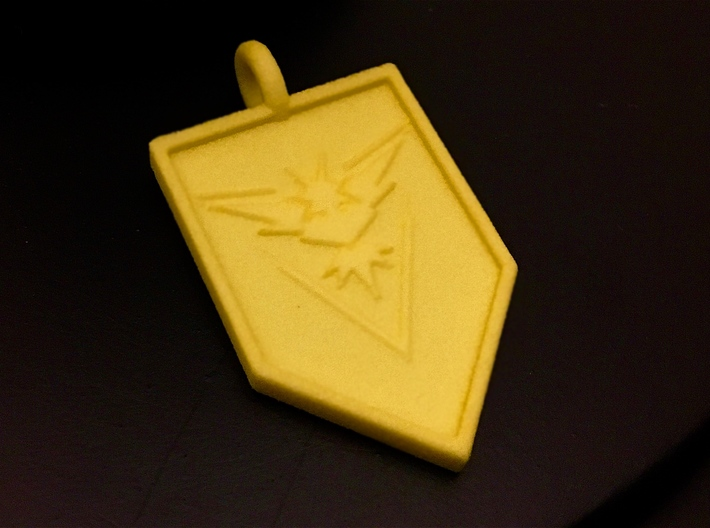 Team Instinct Badge Keychain 3d printed Yellow Strong and Flexible Polished