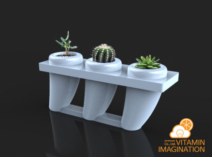 Dinosaurs triple tooth flowerpot 3d printed