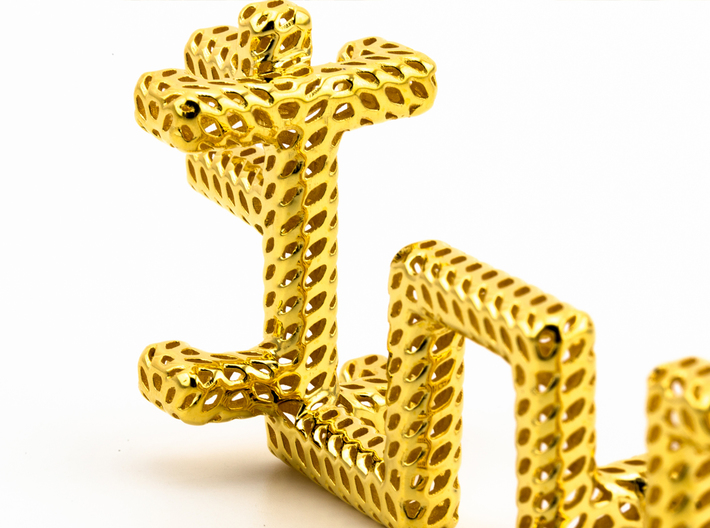 Golden Dragon Abstract, Pendant 3d printed