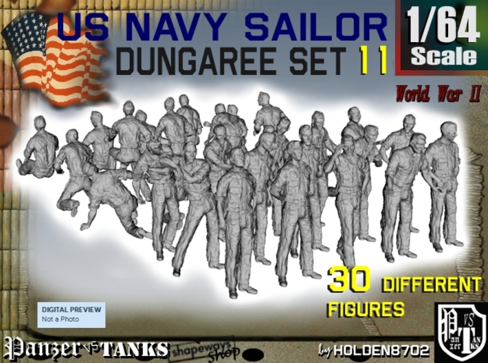 1-64 US Navy Dungaree Set 11 3d printed