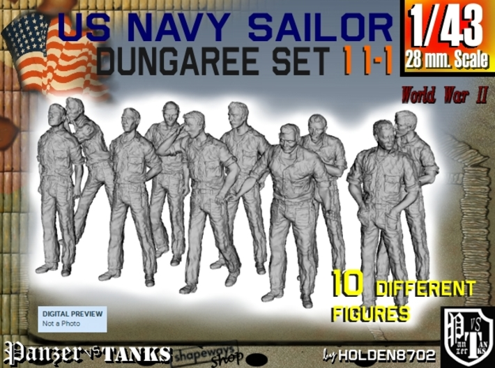 1-43 US Navy Dungaree Set 11-1 3d printed