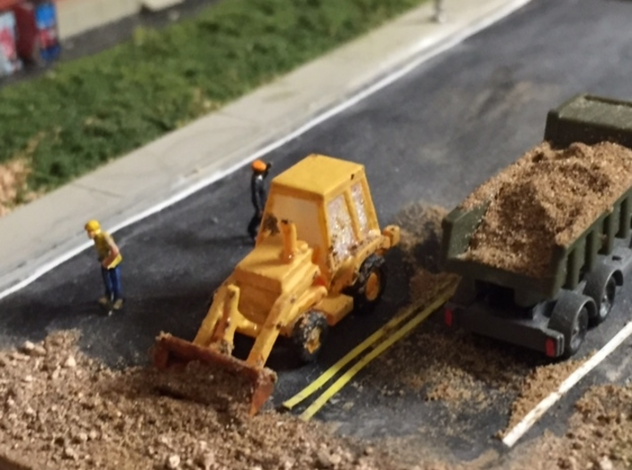 Caterpillar 416 Backhoe - Zscale 3d printed Painting and photo by John Mui