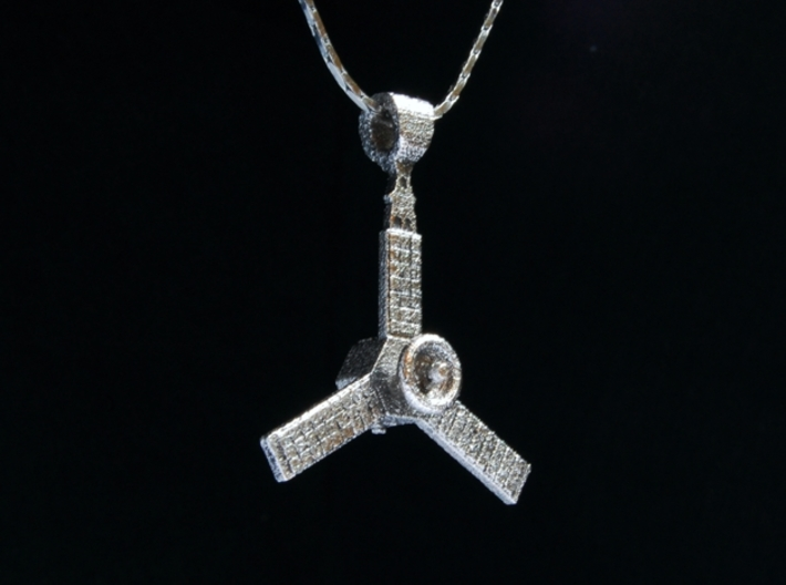 Juno Spacecraft Pendant 3d printed chain shown for display only