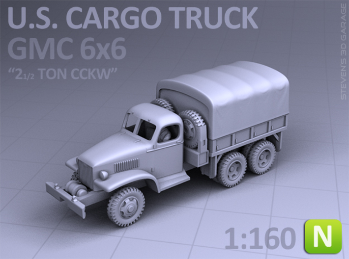 CARGO TRUCK - GMC CCKW 6x6 (N scale) 3d printed