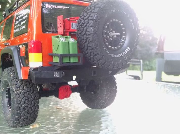 SCX10 2 Cherokee Tire Carrier  3d printed shown with stock tires and Raceline beadlocks, 6-32 x 2in. screw.