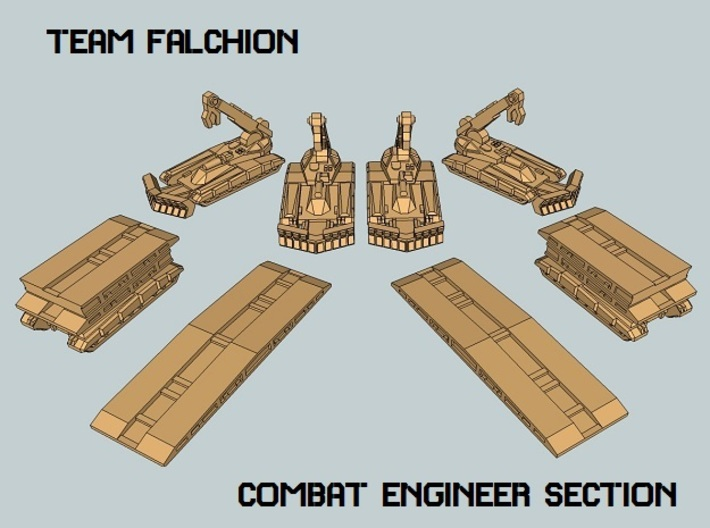 """Team Falchion"" 3mm Tracked Engineers (8 Pcs) 3d printed"