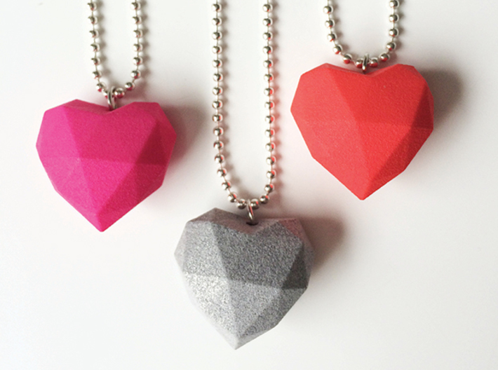 Heart Facet Pendant 3d printed Red + Pink Strong & Flexible polished and Polished Metallic Plastic