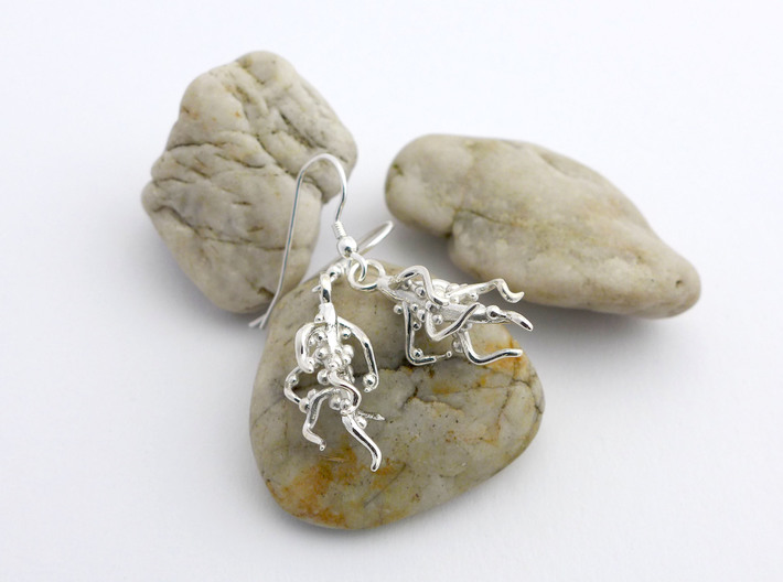 Nodulated Root Earrings - Science Jewelry 3d printed Nodulated earrings in polished silver