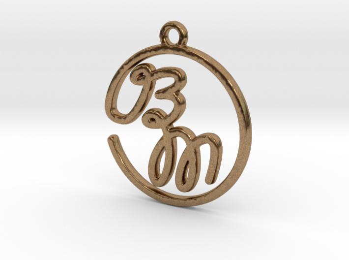 B & M Script Monogram Pendant 3d printed