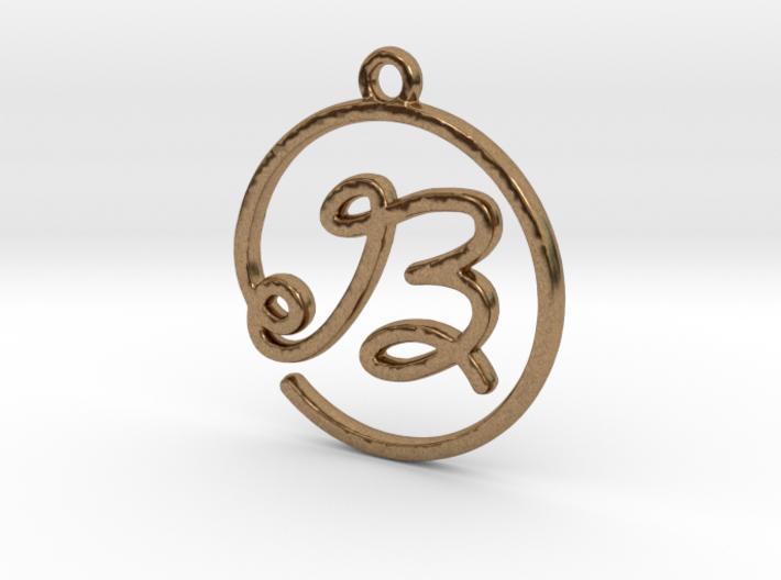 B Script Monogram Pendant 3d printed