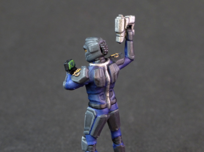 Terran Marine Squad 3d printed Terran marine with pistol and tactical scanner