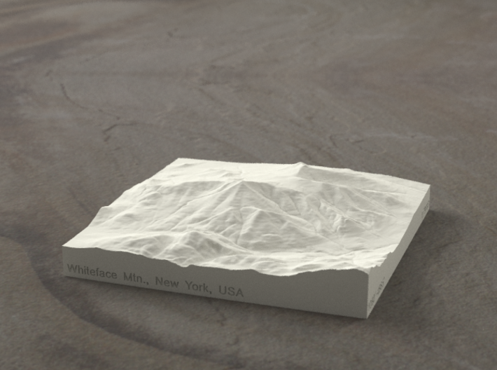 4'' Whiteface Mtn., New York, USA, Sandstone 3d printed Radiance rendering of model, viewed from the SSE