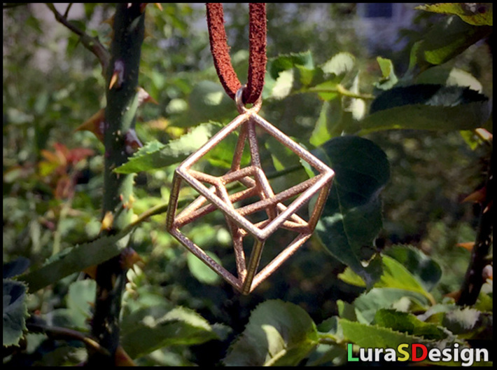 twisted Hypercube Pendant 3d printed Stainless Steel