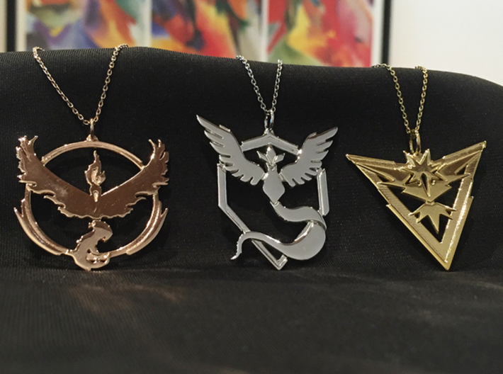 Team Instinct Pendant - Pokemon Go - Zapdos 3d printed Pictured far right - chain not included