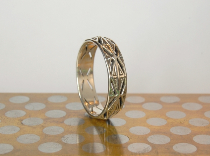 Cut Facets Ring Sz. 10 3d printed polished silver