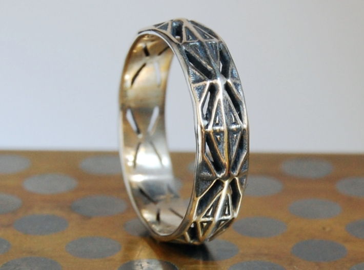 Cut Facets Ring Sz. 10.5 3d printed polished silver with liver of sulfur patina