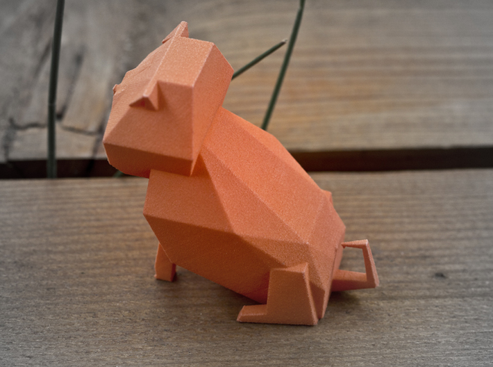 Folded Sculpture Dogs, Pugs 3d printed Strong flexible plastic in orange, overall view from rear