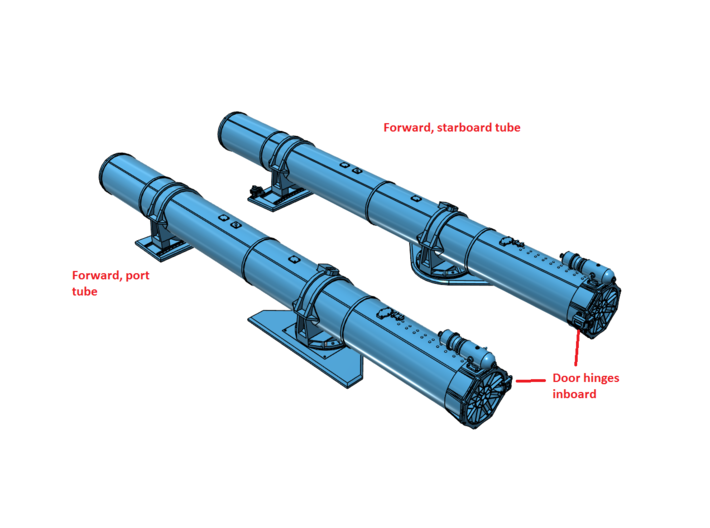 1/48 Torpedo Tubes (forward pair) for PT Boats 3d printed Assembly instructions.