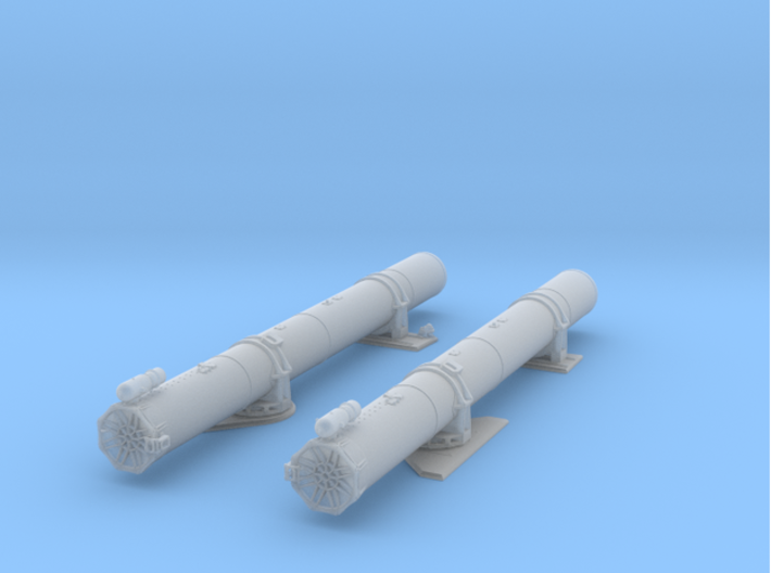 1/48 Forward Torpedo Tubes for PT Boats 3d printed Assembled tube rendering.