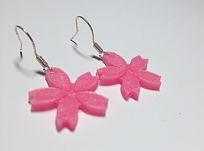 Sakura (Cherry Blossom) Flower Earrings 3d printed This is a real product shot.